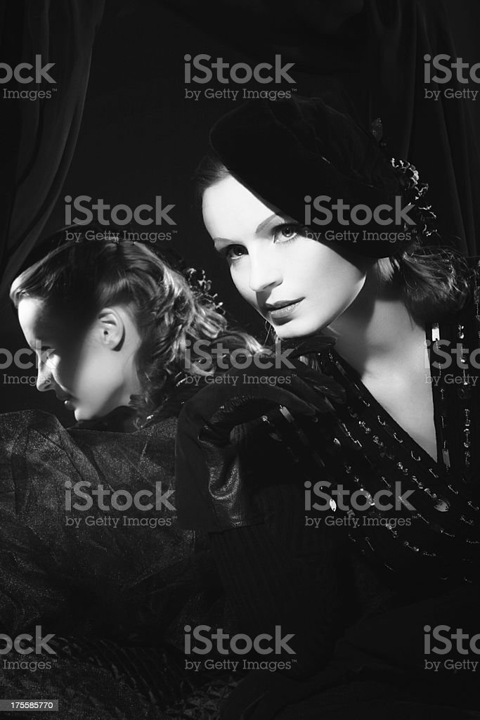 Film Noir style.In the Mirror stock photo