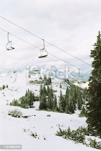 Film photo of cable car in Austria in winter