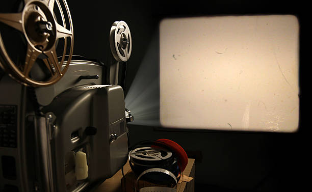 film projector with blank frame - projection equipment stock pictures, royalty-free photos & images
