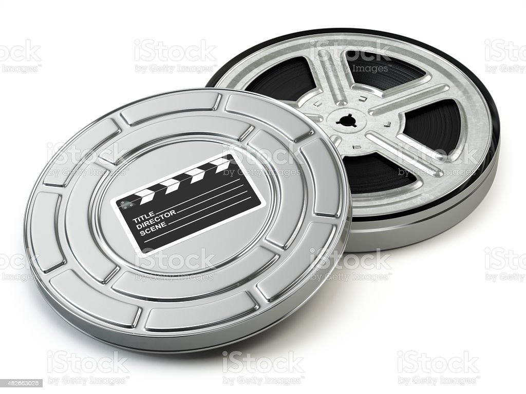 Film reel and box. Video, movie, cinema vintage concept. stock photo