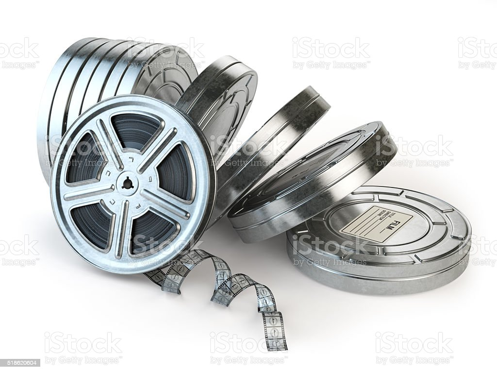 Film reel and boxes. Video, movie, cinema vintage concept. stock photo