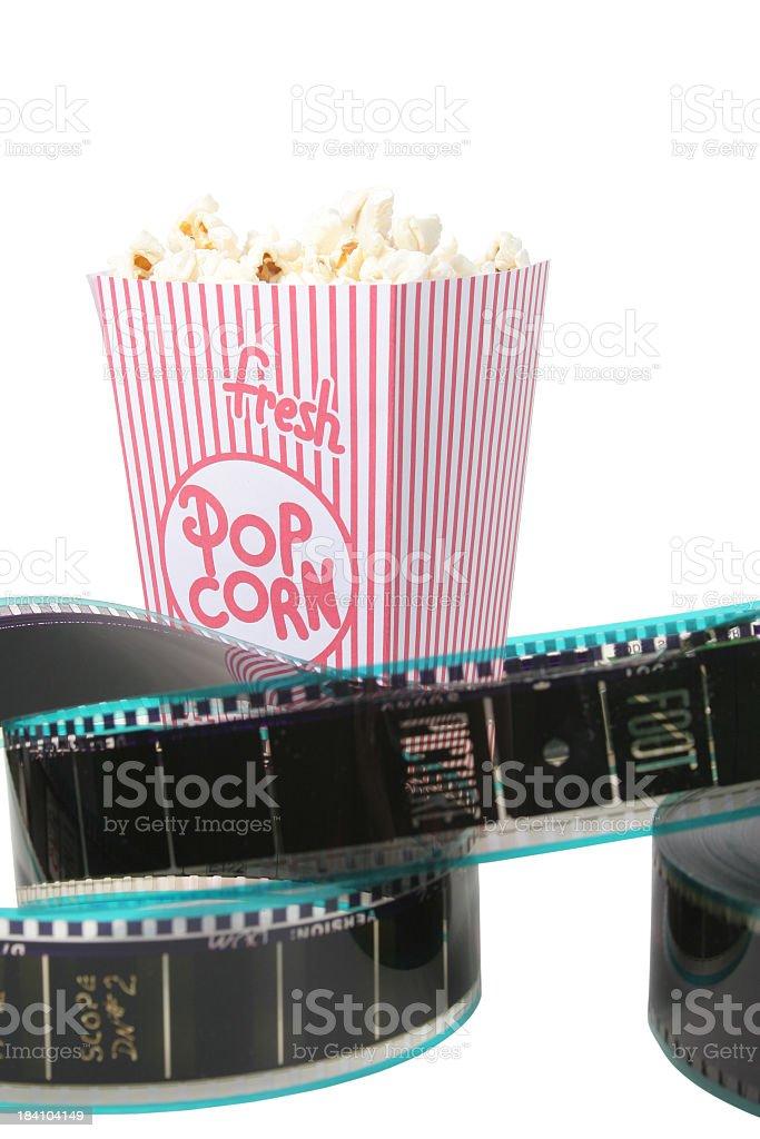 Film reel and Popcorn stock photo