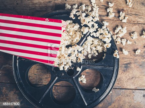 istock Film reel and popcorn 483447800
