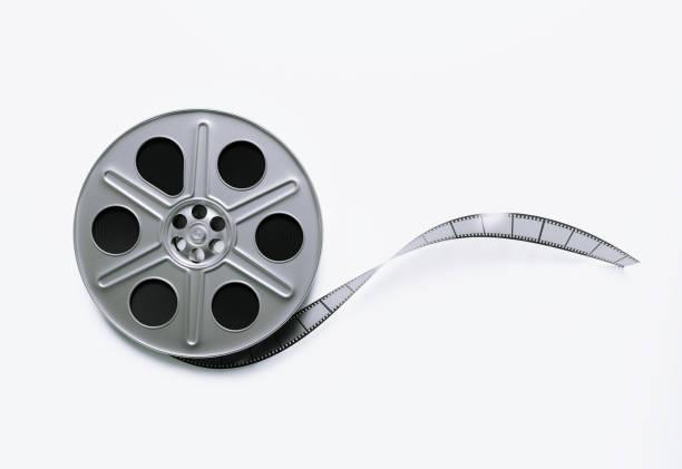 bobina de filme sobre fundo branco - cilindro - fotografias e filmes do acervo