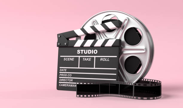 Film reel with clapperboard isolated on bright pink background in pastel colors Film reel with clapperboard isolated on bright pink background in pastel colors. Minimalist creative concept. Cinema, movie, entertainment concept. 3d render illustration film industry stock pictures, royalty-free photos & images