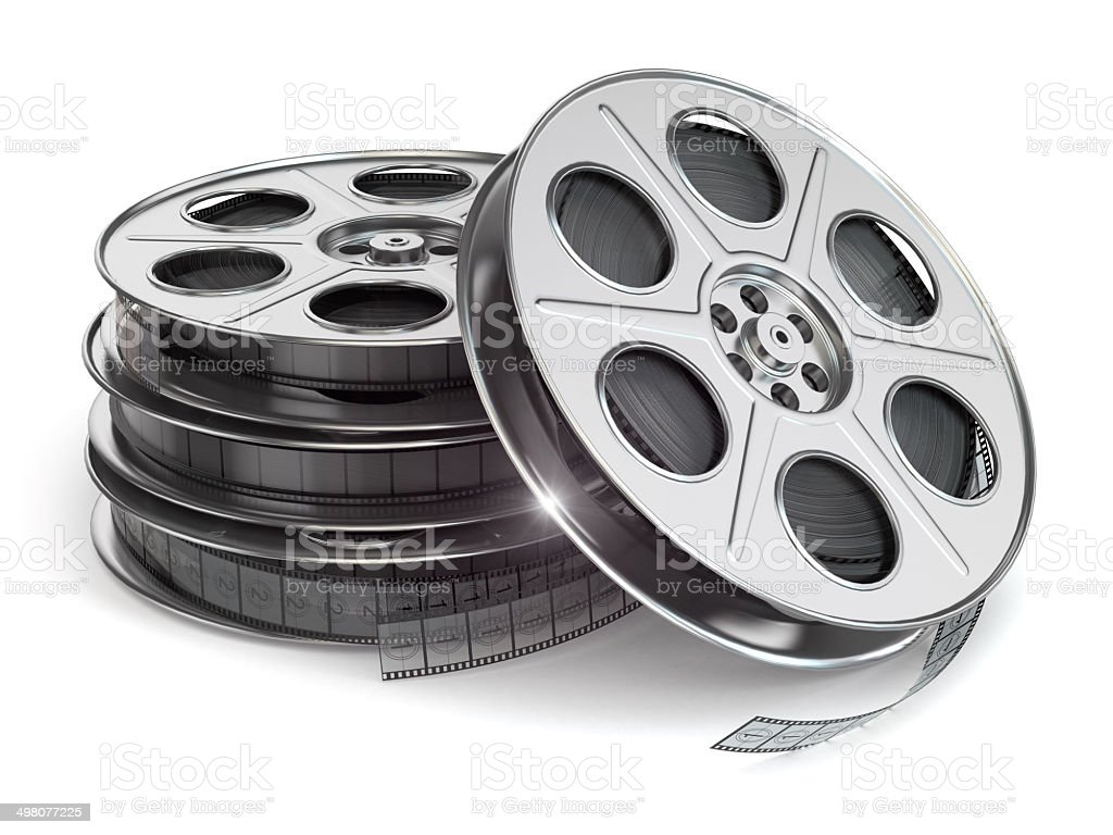 Film reels on white isolated background. stock photo