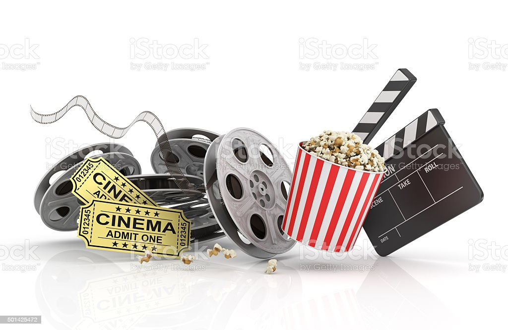 Film Reels, tickets and clapper board. stock photo