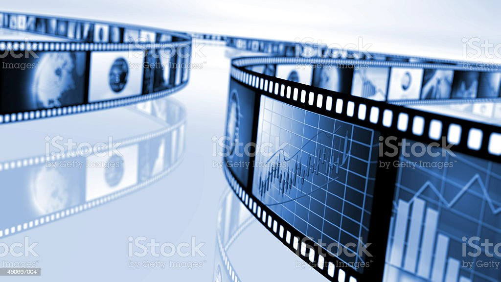 Film reels with stock market concepts stock photo