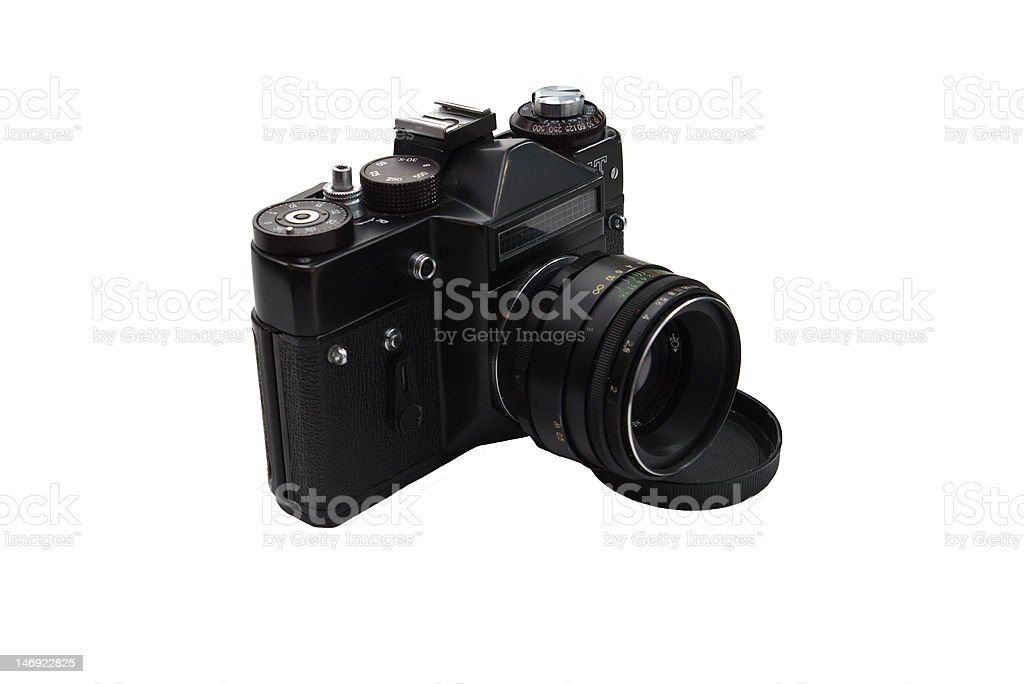 film reflex camera An old film reflex camera isolated on white Camera - Photographic Equipment Stock Photo