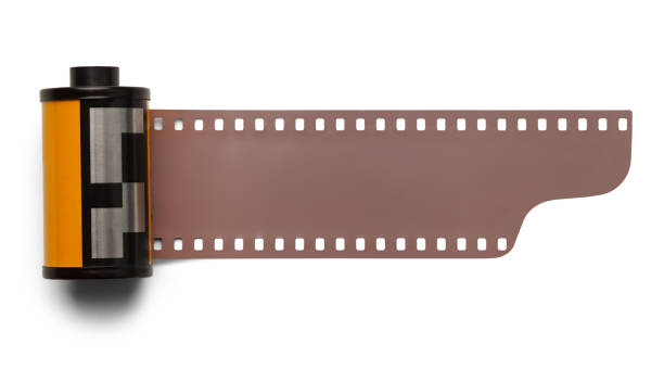 Film Roll 35 mm Roll Film Negative Isolated on White Background. spool stock pictures, royalty-free photos & images