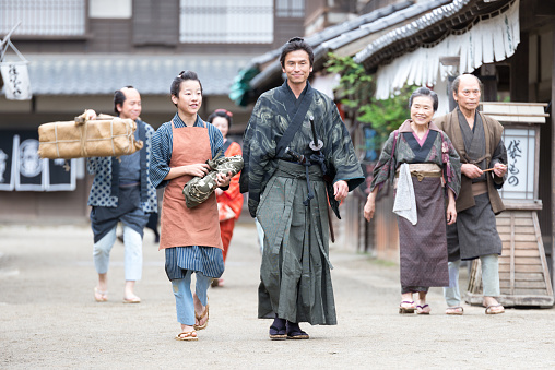 Film scene from old Japanese town