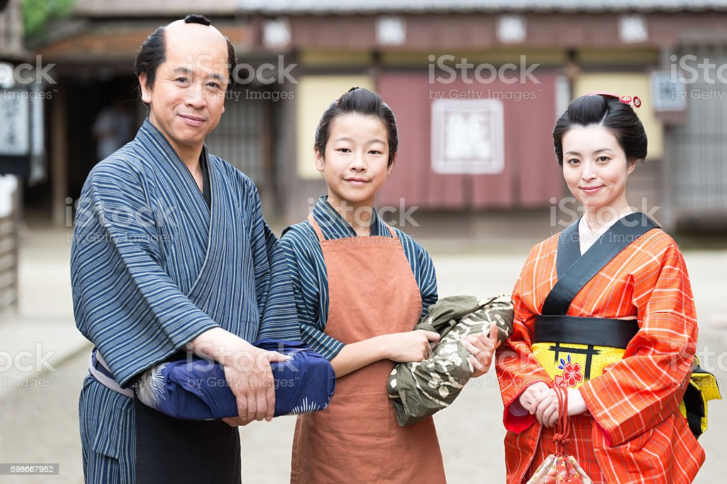 Film scene from old Japanese town stock photo