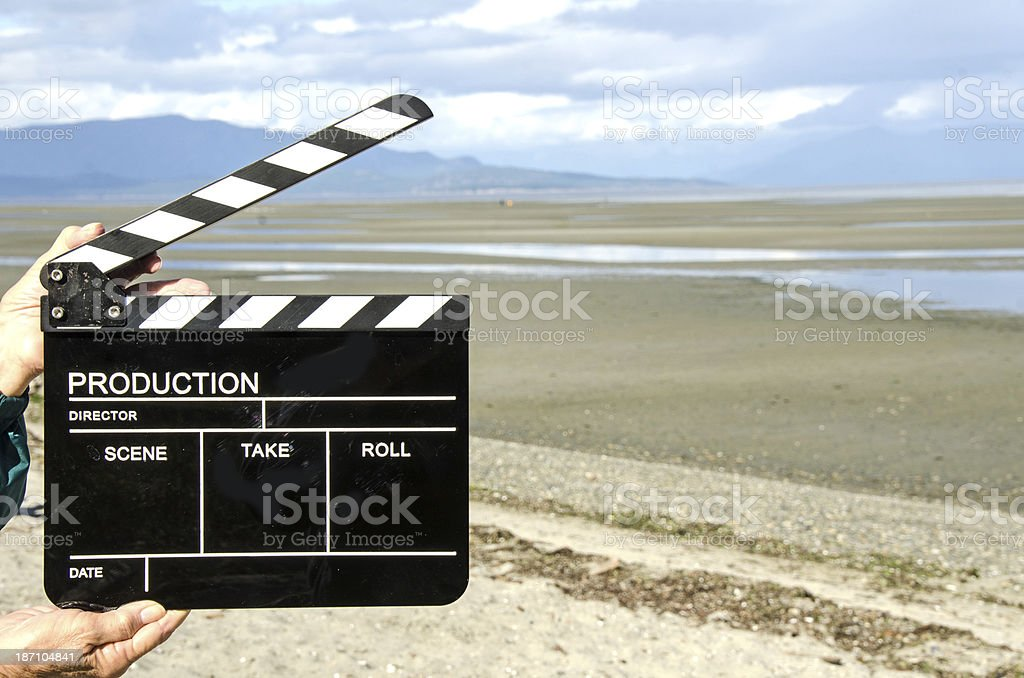 Film Slate at the Beach royalty-free stock photo