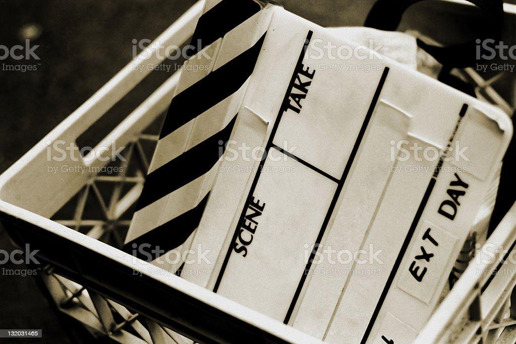 Film Slate - Blank Clapboard on a Movie Set stock photo