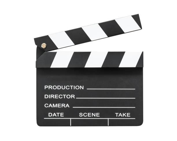 schiefer film board oder kino klappe mit nehmen, action, scence leer exemplar isoliert auf weißem hintergrund mit beschneidungspfad für kino film produktion und videokamera direktor - nachrichten video stock-fotos und bilder