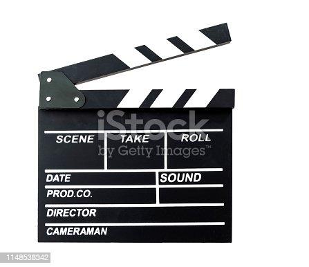 Film slate on white background.