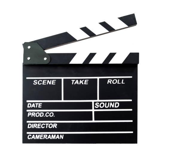 Filmschiefer auf weißem Hintergrund – Foto
