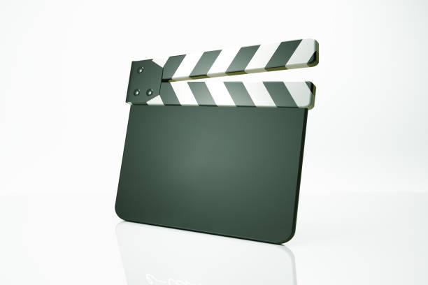 filmklappe auf weiß - oscar filme stock-fotos und bilder
