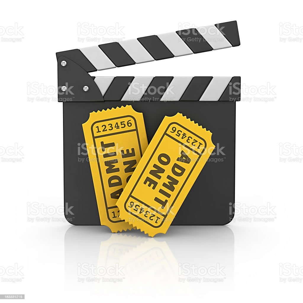 film slate with tickets royalty-free stock photo