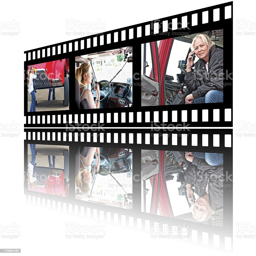 Film Stip Images of Woman Truck Driver stock photo