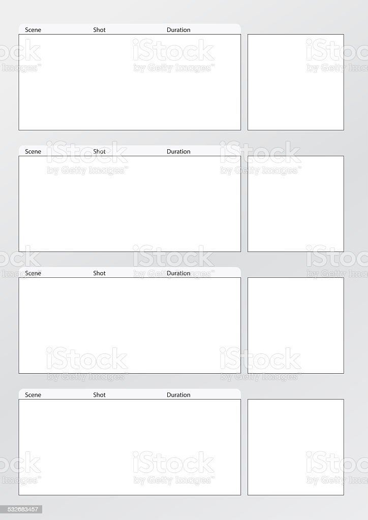 Film storyboard template vertical x4 stock photo