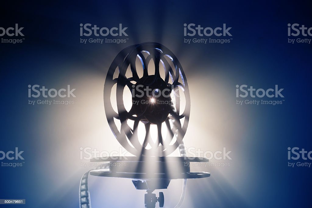 Film strip in a beam of light stock photo