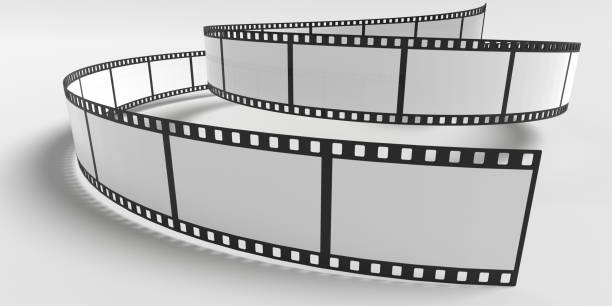 Film strip isolated on white background. 3D rendered illustration. stock photo