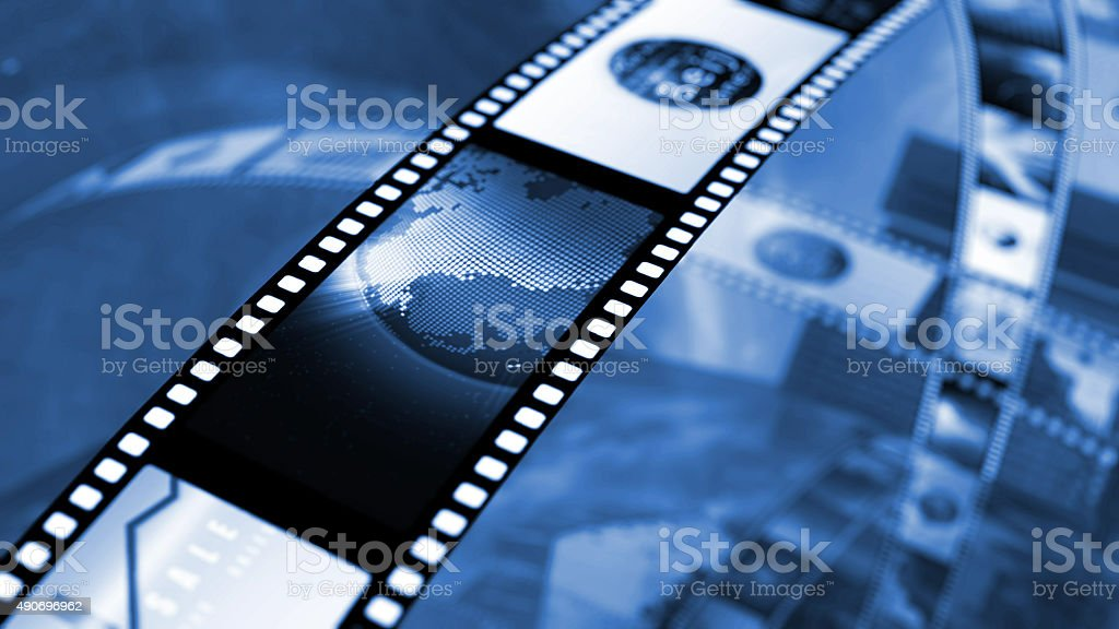 Film strip of stock market news stock photo