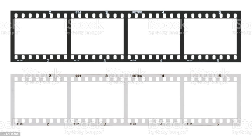 film strip template with frames, empty black and white 135 type (35mm) in negative and positive isolated on white background with work path.