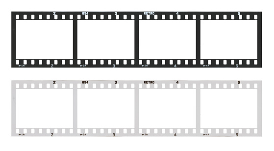Film Strip Template With Frames Empty Black And White 135 Type In Negative And Positive Isolated On White Background With Work Path Stock Photo - Download Image Now
