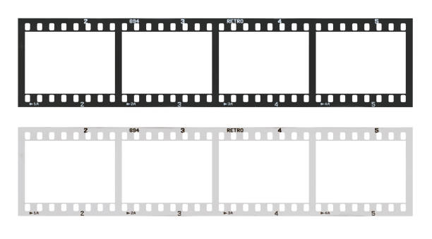 film strip template with frames, empty black and white 135 type (35mm) in negative and positive isolated on white background with work path. stock photo