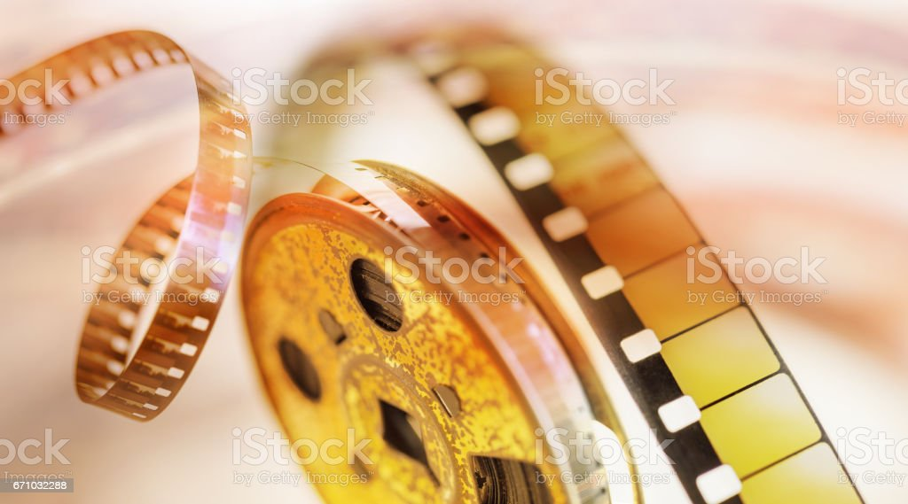 Film Strip vintage 8 mm cinema background stock photo
