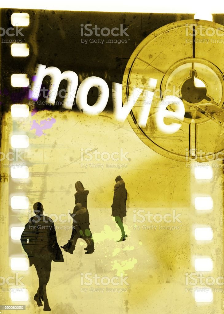 Film strip with a group of unrecognizable people, reel and word 'movie'. Poster concept. stock photo