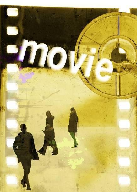 """filmstreifen mit einer gruppe von personen unkenntlich, reel und wort """"film"""". plakat-konzept. - filmplakate stock-fotos und bilder"""