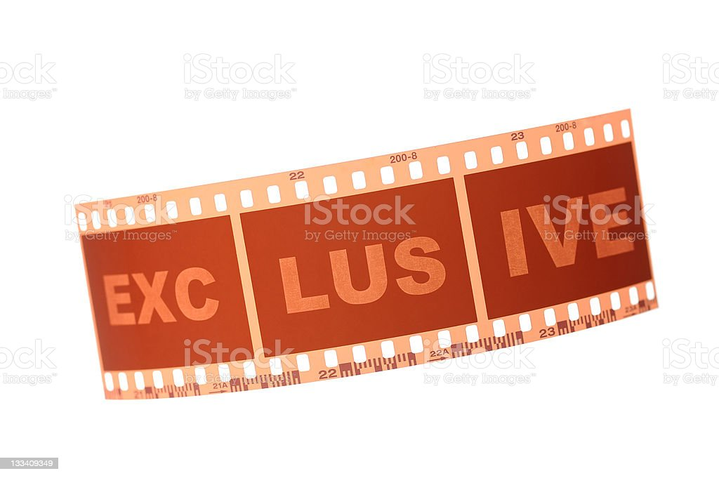 "Film strip with letter ""Exclusive"" royalty-free stock photo"