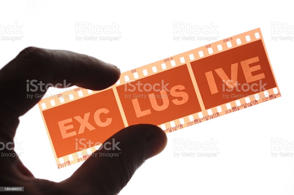"""Film strip with letter """"Exclusive"""" royalty-free stock photo"""
