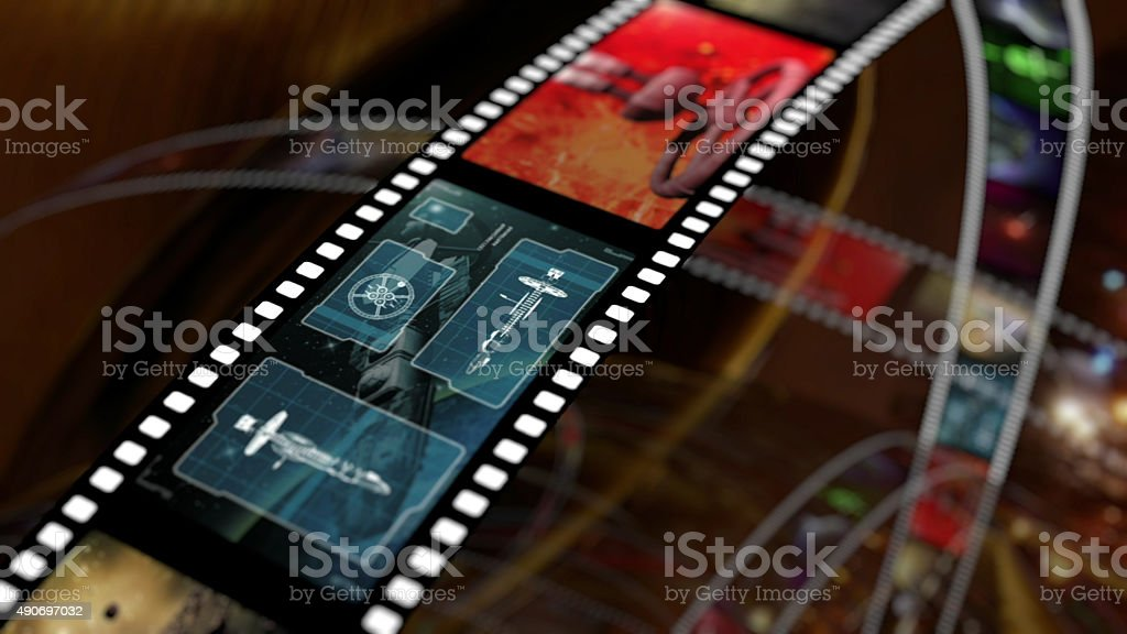Film strip with science fiction based concepts stock photo