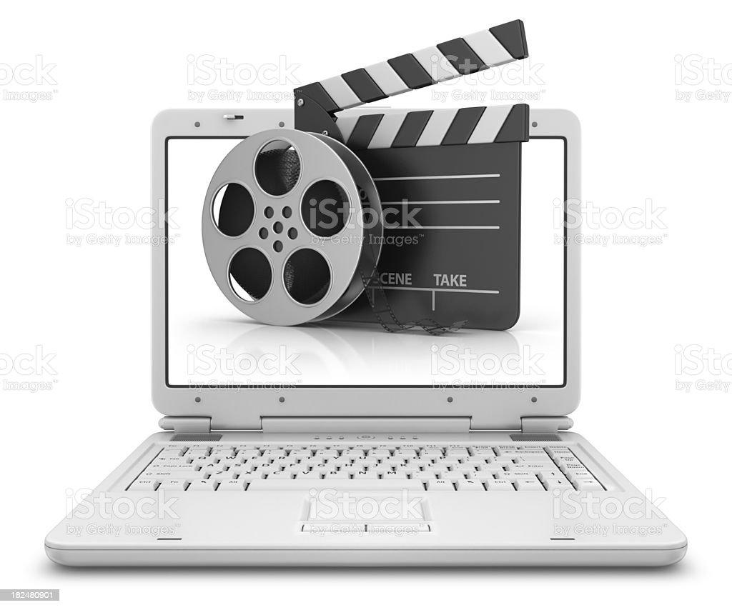 film stuff in laptop stock photo