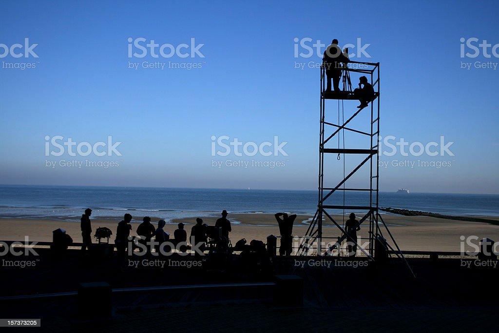 Filmcrew at sea Ostend Belgium royalty-free stock photo
