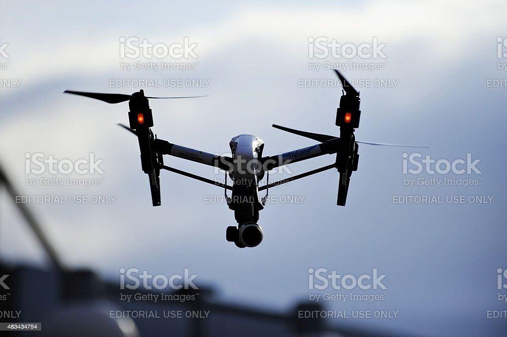 Filming drone silhouette stock photo