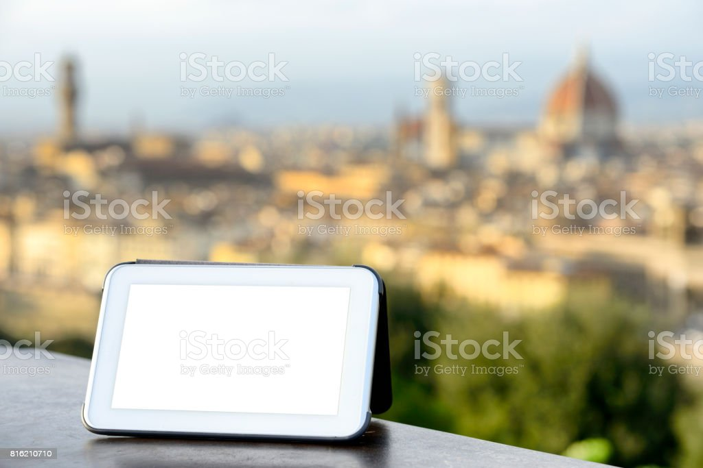 Filming Florence skyline stock photo