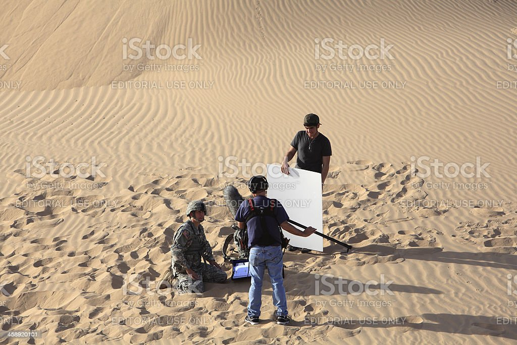 Filming In The Imperial Sand Dunes stock photo