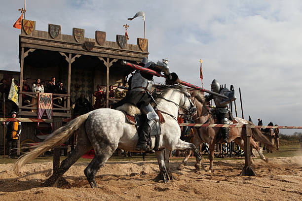 filming of a new movie the knights - knight on horse stock photos and pictures