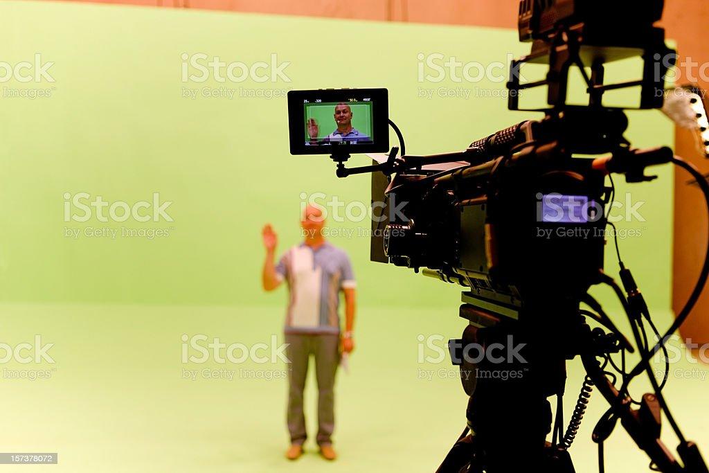 Filming on chromakey stock photo