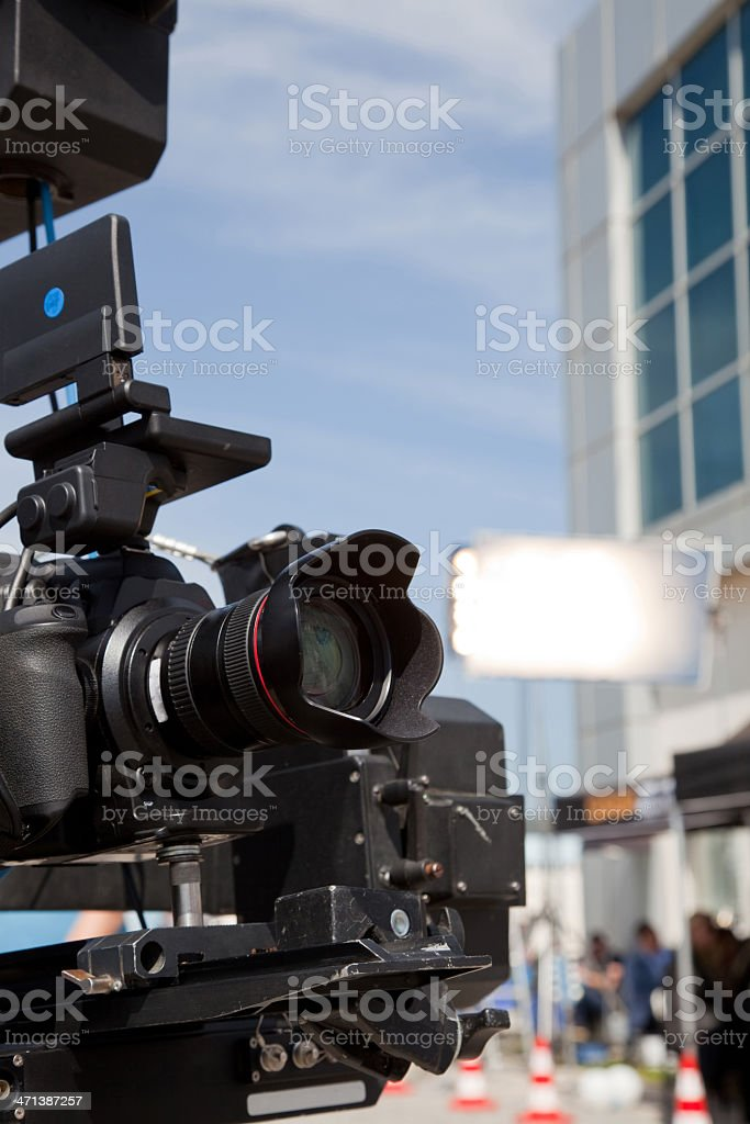 Filming with professional camera stock photo
