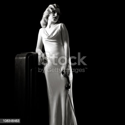 istock Film-noir Portrait of Retro Woman Waiting With Old Phone. 108348463