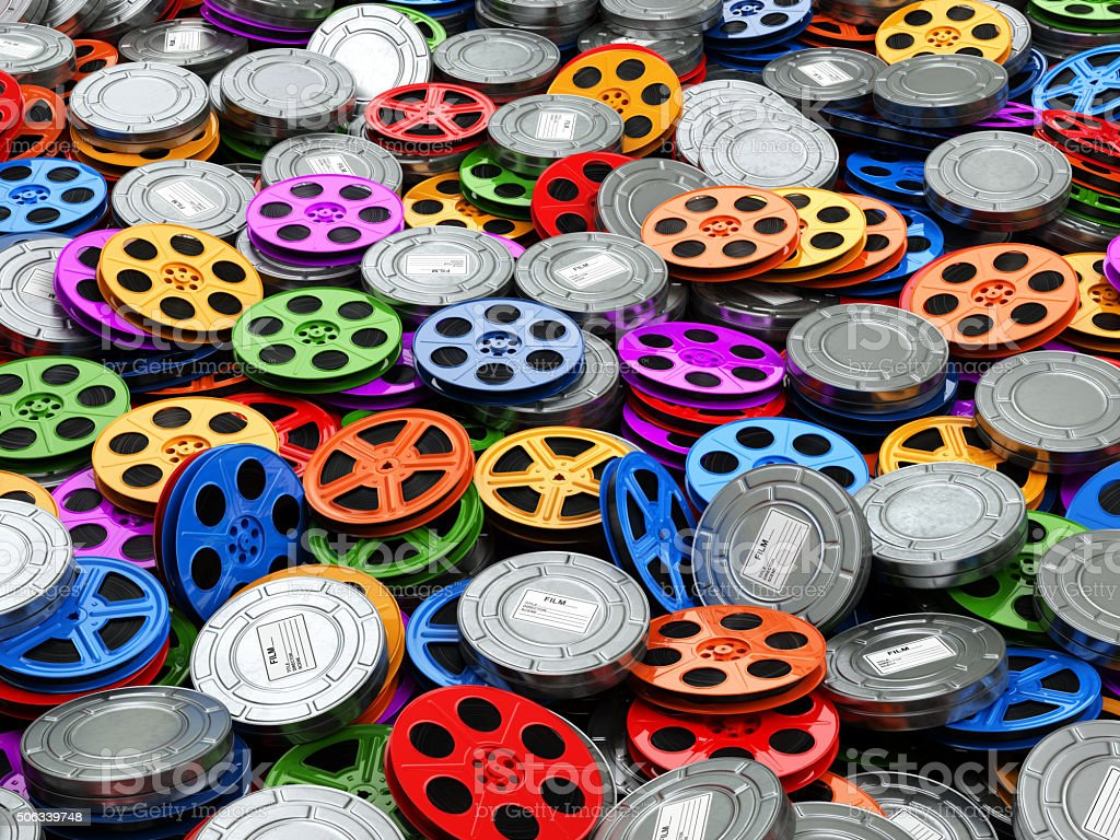 Films collection concept. Cinema, movie, video reels background. stock photo