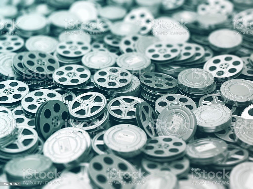 Films collection. Movie video reels background. stock photo