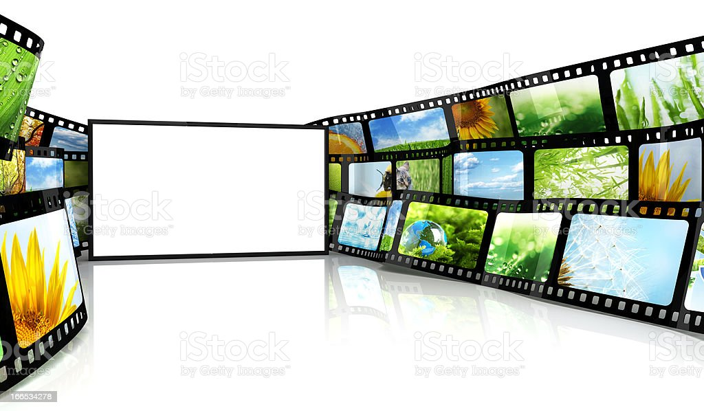 Filmstrip with blank TV royalty-free stock photo