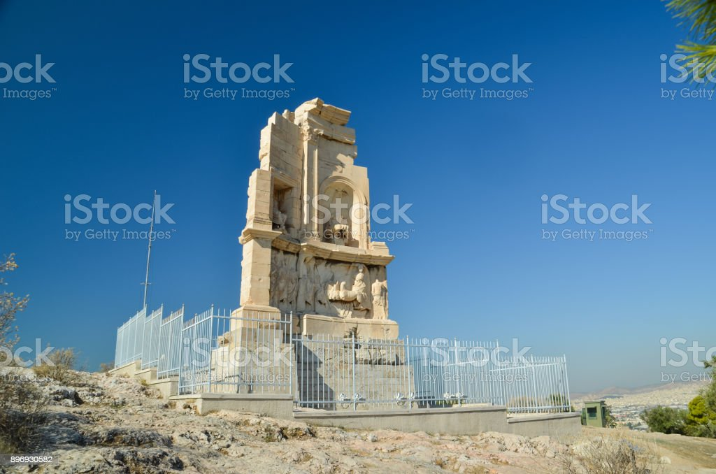 filopapou monument near to Acropolis Athens Greece colors stock photo